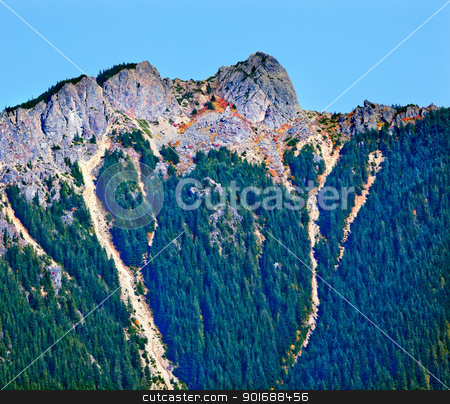Mount Si North Bend Hikers on Top Washington State stock photo, Mount Si Hikers On Top North Bend Washington State Pacific Northwest by William Perry