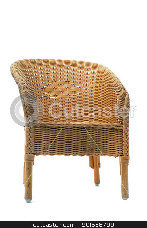 rattan chair stock photo, picture of a rattan chair in front of a white background by Bonzami Emmanuelle
