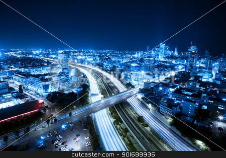 Tel Aviv skyline stock photo, Aerial  View Of Tel Aviv At Night - Tel Aviv Cityscape by Dmitry Pistrov
