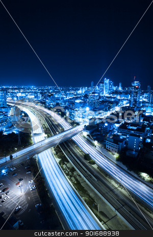 Tel Aviv skyline stock photo, Aerial  View Of Tel Aviv At Night - Tel Aviv Cityscape by Dmitry Pistrov