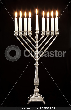 Hanukkah Menorah / Hanukkah Candles stock photo, Silver Hanukkah candles all candle lite on the traditional Hanukkah menorah by Dmitry Pistrov