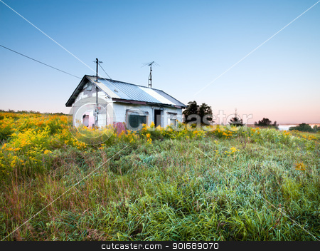 Abandoned house in field stock photo, Abandoned house in field by Dunning Adam Kyle