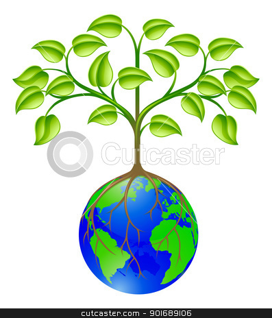 World globe tree stock vector clipart, Conceptual illustration of a world globe tree by Christos Georghiou