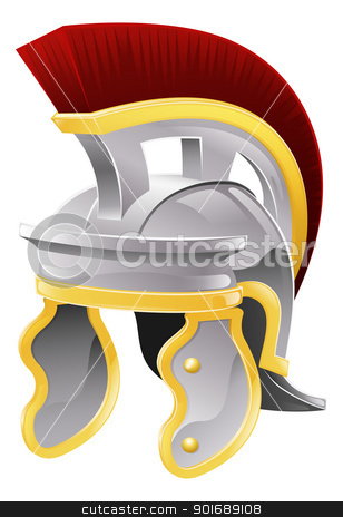 Roman helmet stock vector clipart, Illustration of Roman soldier's galea style helmet with red crest by Christos Georghiou