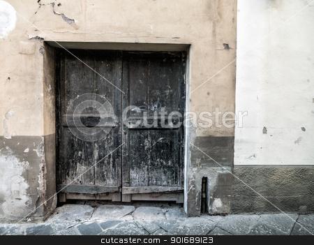 blue wood door stock photo, blue wood door by Dunning Adam Kyle