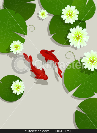 Koi fish card stock vector clipart, Koi fish and lotus leaves and flowers background card with room for text by Richard Laschon