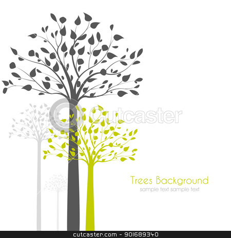 trees with leaves stock vector clipart, trees with leaves on white background by Miroslava Hlavacova
