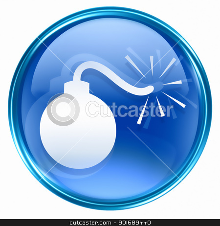 bomb icon blue, isolated on white background. stock photo, bomb icon blue, isolated on white background. by Andrey Zyk