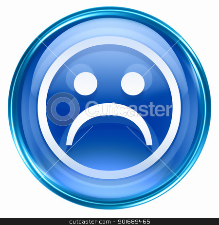 Smiley Face, dissatisfied blue, isolated on white background. stock photo, Smiley Face, dissatisfied blue, isolated on white background. by Andrey Zyk