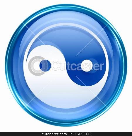 yin yang symbol icon blue, isolated on white background. stock photo,  yin yang symbol icon blue, isolated on white background. by Andrey Zyk