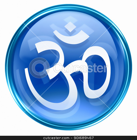 Om Symbol icon blue, isolated on white background. stock photo, Om Symbol icon blue, isolated on white background. by Andrey Zyk