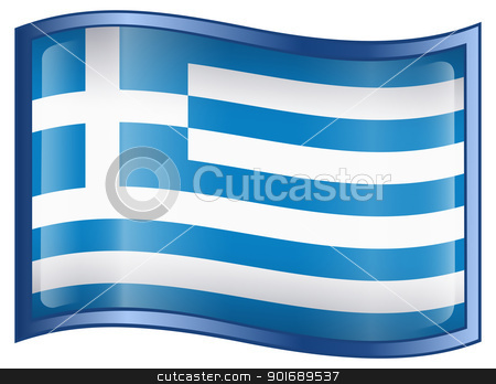 Greece Flag Icon stock photo, Greece Flag Icon, isolated on white background by Andrey Zyk