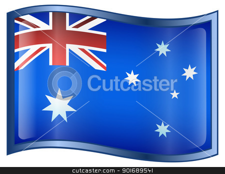 Australia Flag Icon stock photo, Australia Flag Icon, isolated on white background. by Andrey Zyk