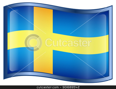 Sweden Flag Icon stock photo, Sweden Flag Icon, isolated on white background. by Andrey Zyk