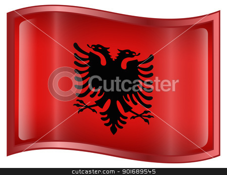 Albania Flag Icon stock photo, Albania Flag Icon, isolated on white background. by Andrey Zyk