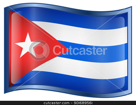 Cuba Flag Icon stock photo, Cuba Flag Icon, isolated on white background. by Andrey Zyk