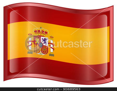 Spain Flag Icon stock photo, Spain Flag Icon, isolated on white background by Andrey Zyk