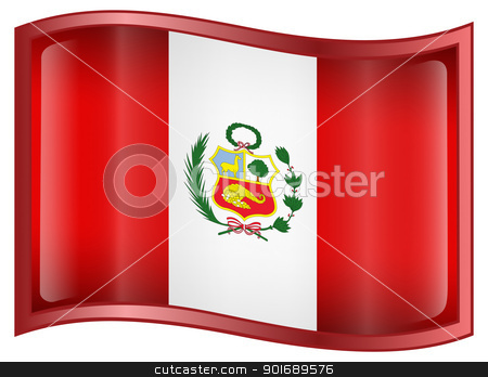 Peru Flag Icon stock photo, Peru Flag Icon, isolated on white background. by Andrey Zyk