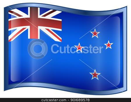 New Zealand Flag Icon stock photo, New Zealand Flag Icon, isolated on white background. by Andrey Zyk
