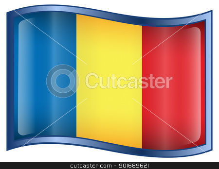 Romania Flag icon stock photo, Romania Flag icon, isolated on white background. by Andrey Zyk