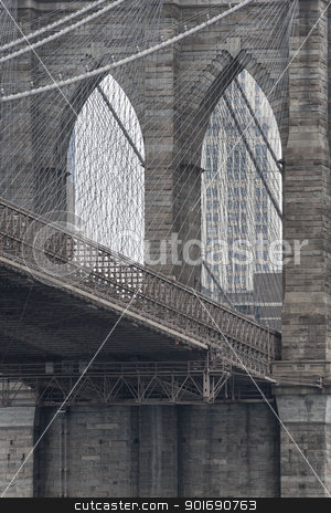 close up cropped image of brooklyn bridge  stock photo, close up cropped image of brooklyn bridge  by Dunning Adam Kyle
