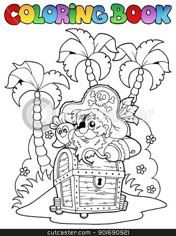 Coloring book with pirate topic 1 stock vector clipart, Coloring book with pirate topic 1 - vector illustration. by Klara Viskova