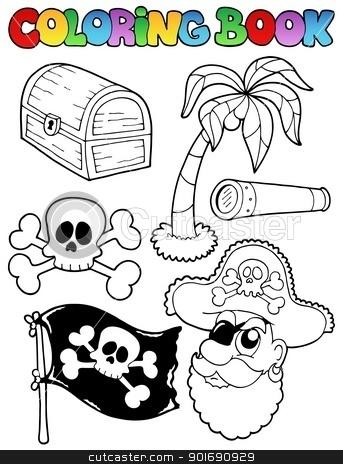 Coloring book with pirate topic 7 stock vector clipart, Coloring book with pirate topic 7 - vector illustration. by Klara Viskova