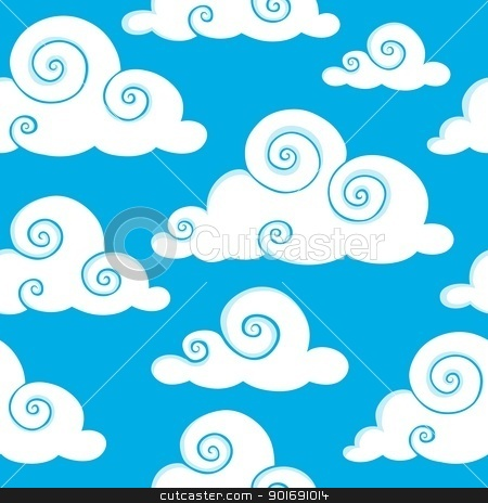 Seamless background with clouds 6 stock vector clipart, Seamless background with clouds 6 - vector illustration. by Klara Viskova