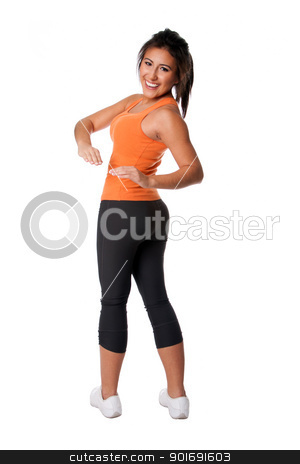 Fitness exercise stock photo, Beautiful happy smiling young woman doing fitness exercise stretching for good health, isolated. by Paul Hakimata