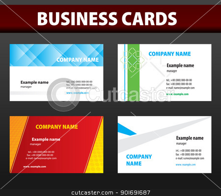 Business cards. Vector template. stock vector clipart, Four business cards. Vector template. by vtorous