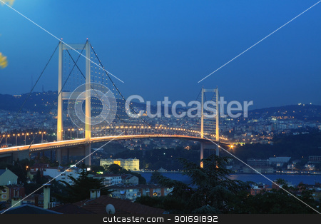 Istanbul Bosphorus Bridge stock photo, Istanbul city lights and bosphorus bridge by muharremz