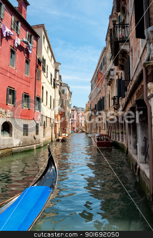 Gondola on canal between old houses at Venezia - Italy stock photo, Italy - Venezia -  Gondola on canal between old houses by padebat