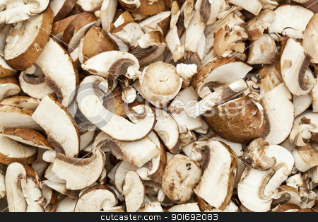 crimini mushrooms stock photo, background of sliced and diced crimini mushrooms prepared for cooking by Marek Uliasz