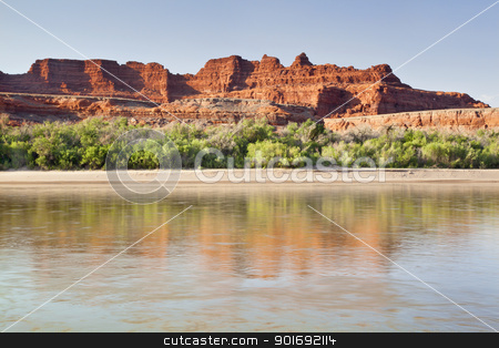 Colorado River in Canyonlands National Park stock photo, Colorado River in Canyonlands National Park, Utah  - reflections of sandstone cliff in calm water by Marek Uliasz