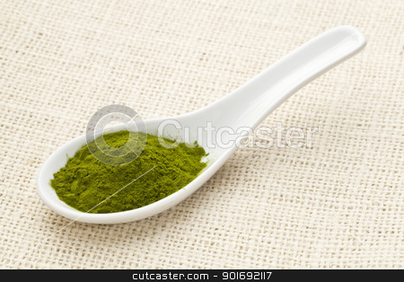 freeze-dried organic wheat grass powder stock photo, green freeze-dried organic wheat grass powder, nutritional supplement, on a white ceramic spoon against burlap canvas by Marek Uliasz