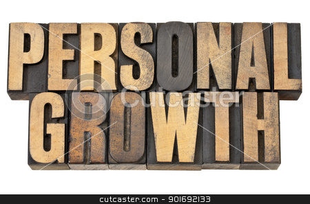 personal growth in wood type stock photo, personal growth - self development concept - isolated text in vintage letterpress wood type by Marek Uliasz