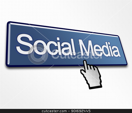 Large Blue Social Media Button stock photo, Large Blue Social Media Button with Hand Cursor Click by Robert Davies