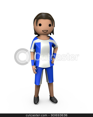 3D Young Male Football Player stock photo, 3D Young Male Football Player in Strip on White by Robert Davies