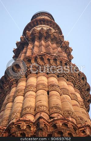 Qutb Minar stock photo, historic tower near Delhi in India named Qutb Minar by prill