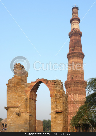 Qutb Minar stock photo, historic tower near Delhi in India named Qutb Minar by prill