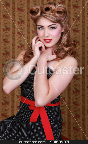 Pin Up Style Girl in Studio stock photo, Beautiful Pin Up Style Girl in Studio by Katrina Brown