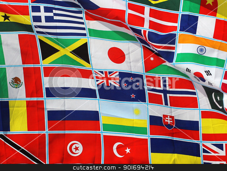 Flags of the world stock photo, Abstract background of flags on the world. by Martin Crowdy