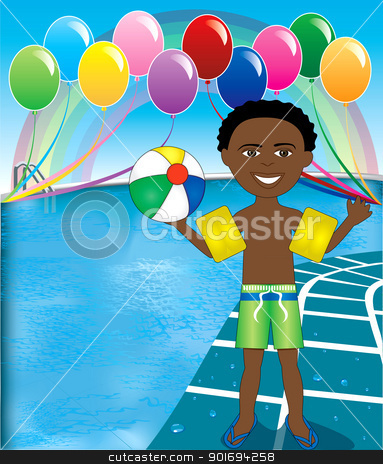 Pool Ball Boy stock vector clipart, Vector Illustration of Ball Boy at pool party with balloons and beach ball. by Basheera Hassanali
