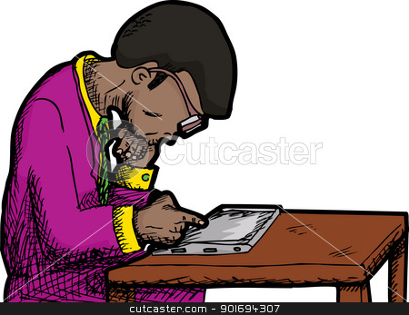 Businessman Reading Tablet stock vector clipart, Black man with thick eyeglasses reading a tablet pc by Eric Basir