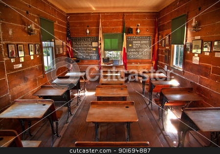 Old Mason Street Elementary School Old San Diego California  stock photo, Old Mason Street Elementary School, Wooden Desks, Old San Diego, California One of the first elementary schools in California  Built 1865 and is 146 years old. by William Perry