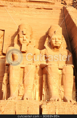 Landmark of the famous Ramses II statues at Abu Simbel in Egypt stock photo, Landmark of the famous Ramses II statues at Abu Simbel in Egypt by John Young