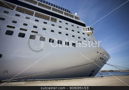 Cruise ship in port stock photo, Large white cruise ship anchored in port by Ints Vikmanis