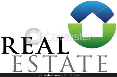 Real estate emblem stock vector clipart, Green and blue vector emblem for housing and real estate businesses by HypnoCreative