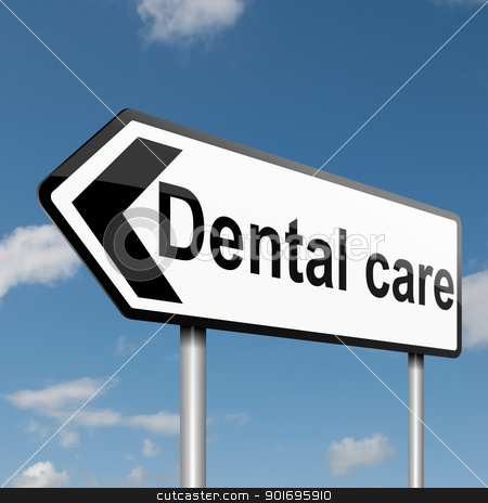 Dental treatment concept. stock photo, Illustration depicting a road traffic sign with a Dental treatment concept. Blue sky background. by Samantha Craddock