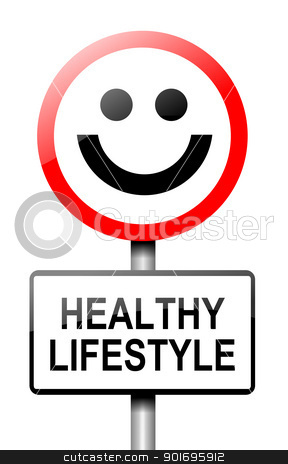 Healthy lifestyle concept. stock photo, Illustration depicting a road traffic sign with a healthy lifestyle concept. White background. by Samantha Craddock